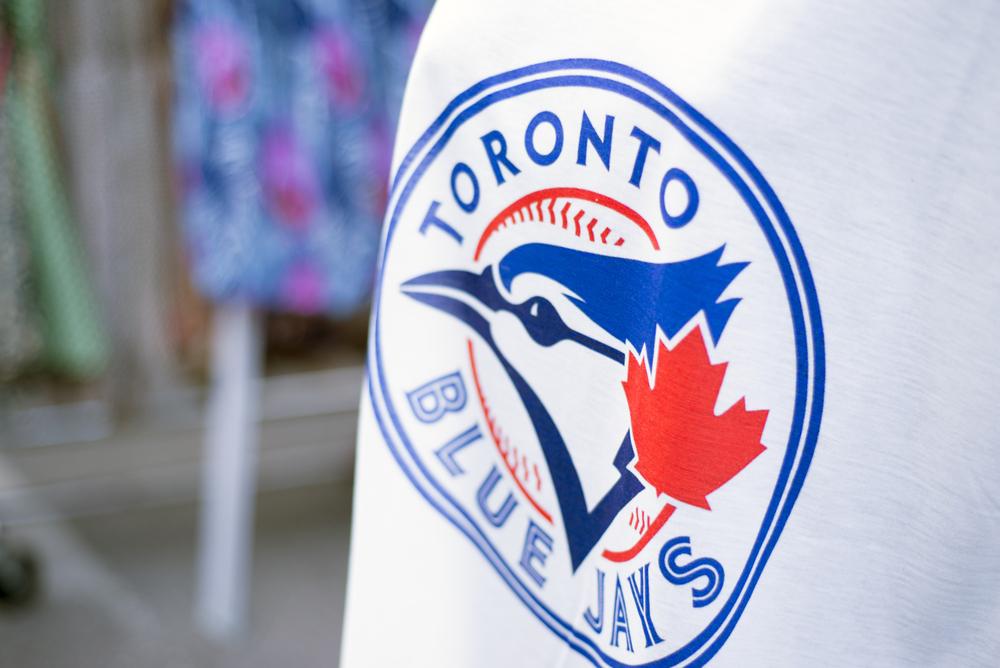 Detail of Blue Jays logo patch.