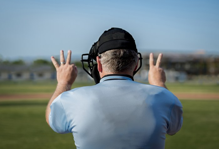 Back view of umpire making call at home plate. Three balls, two strikes