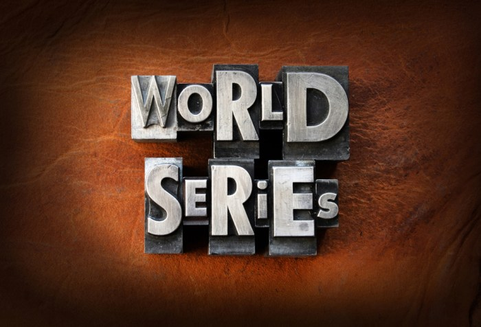The words World Series made from vintage lead letterpress type on a leather background.