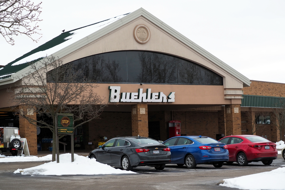 View of Buehler's grocery store on winter day