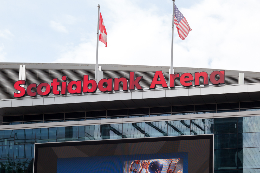 Sign of Scotiabank Arena in Toronto, home of the Toronto Raptors.