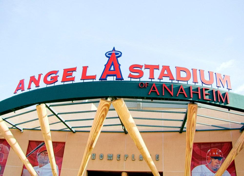 Anaheim,CA/Los Angeles. Oct 29 2016, The main entrance of Angel Stadium, a major league baseball team in Anaheim, CA.