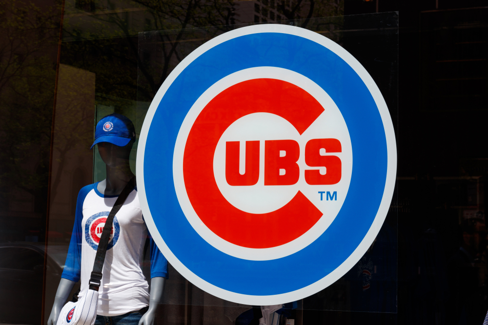 Chicago Cubs logo at the team store on the Miracle Mile circa May 2018.