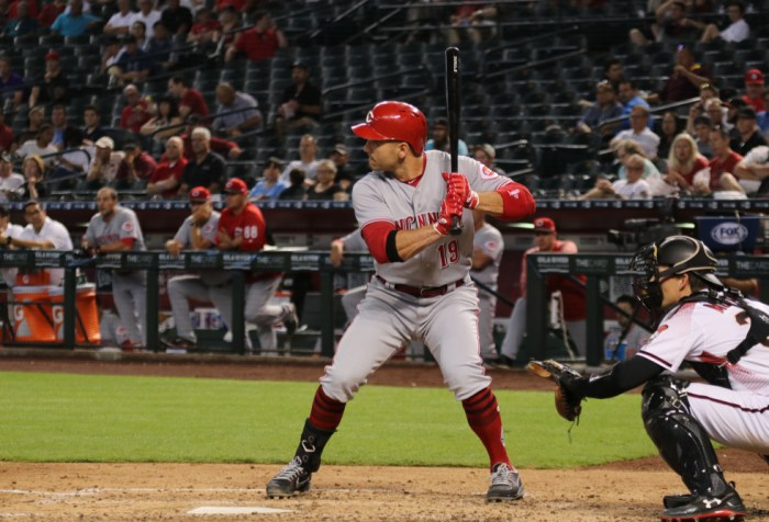 Joey Votto first basemen for the Cincinnati Reds, batting at Chase Field in Phoenix, Arizona, USA on May 30, 2018.