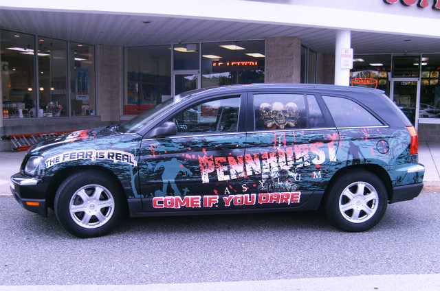 Pennhurst Asylum custom digitally printed horror themed suv wrap