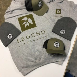 Legend landscaping custom embroidered and screen printed branded apparel, hats, beanies, and hoodie