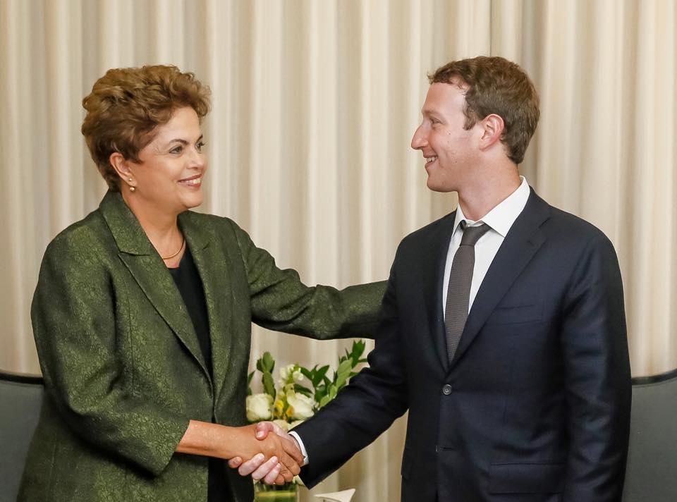 Encontro de Dilma Rousseff e Mark Zuckerberg - Foto Facebook