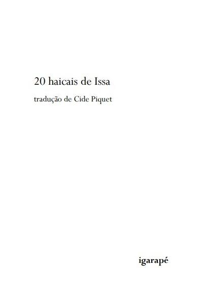 20 haicais de Issa. Capa. Reprodução