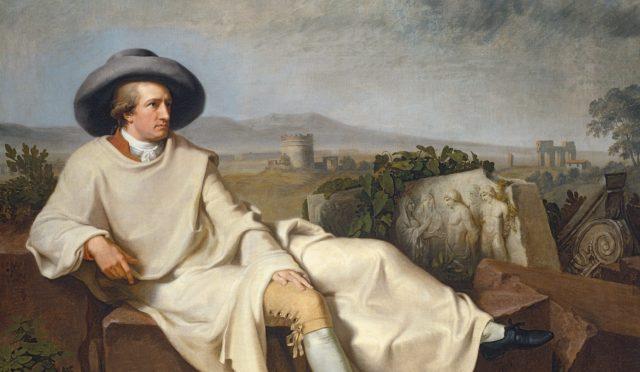 O GOLFO DE NÁPOLES COM VISTA PARA O VESÚVIO – ilustração pelo artista amigo de Goethe, Christoph Heinrich Kniep - Imagem de goethezeitportal.de