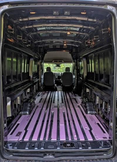 Van Conversion Floor Installation, filler strips final