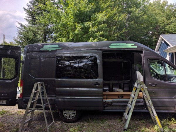 Fiamma F45S installation painter tape