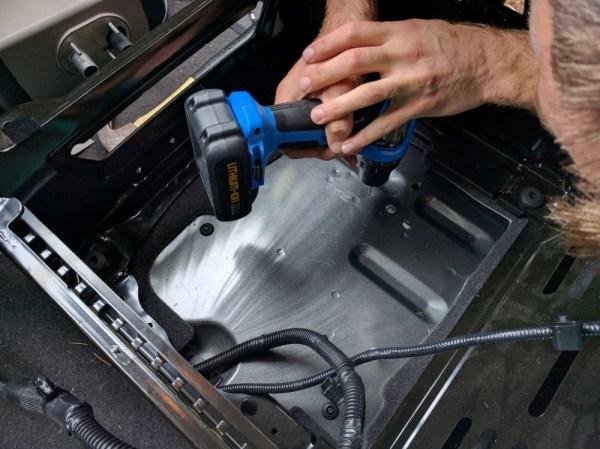 Van Conversion Webasto Air Heater, drilling holes