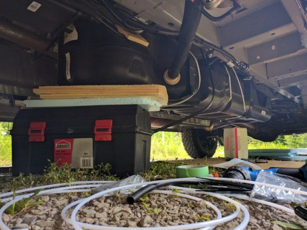 Van Conversion Webasto Air Heater, lower the fuel tank