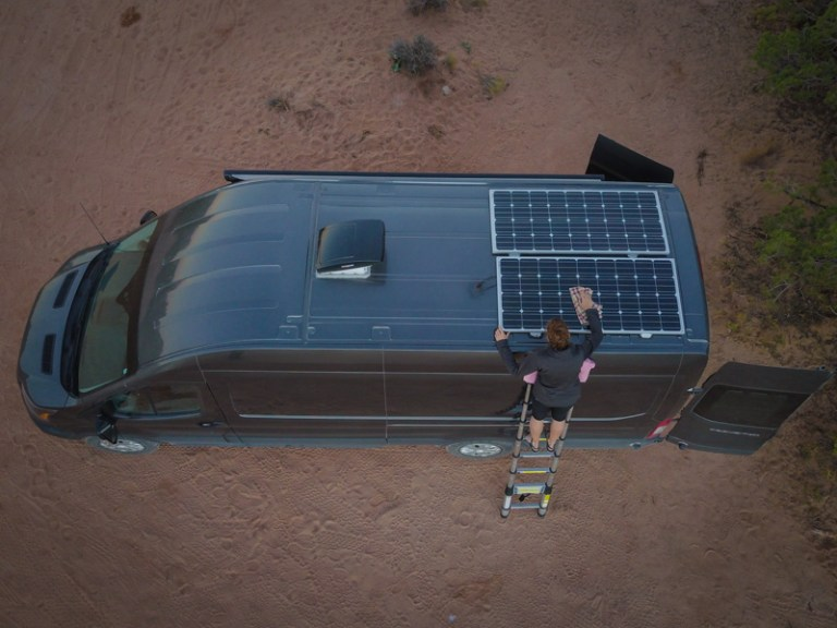 Cleaning the solar panels 2
