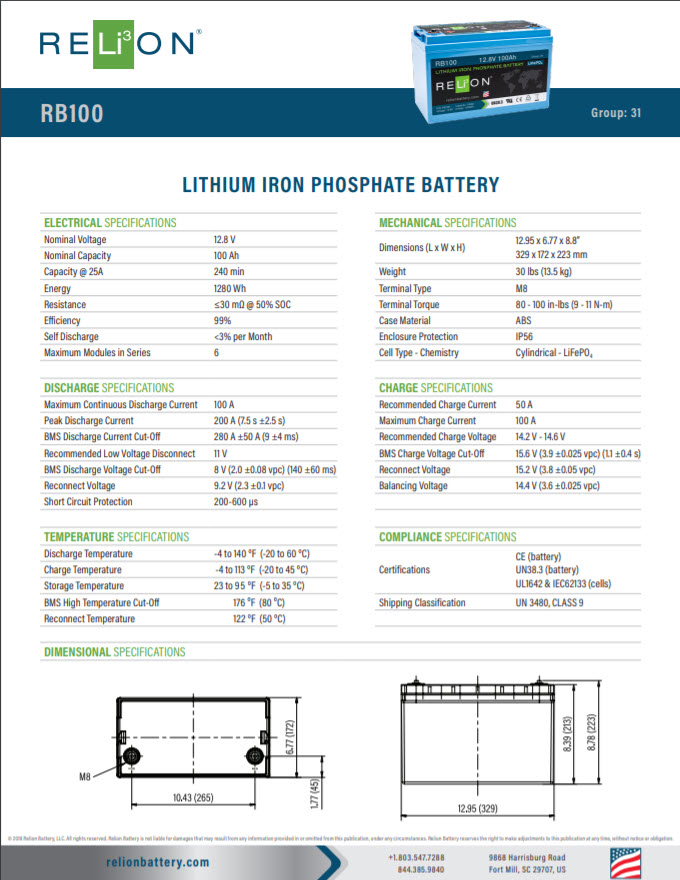 Relion Specification Sheet (1 of 2)