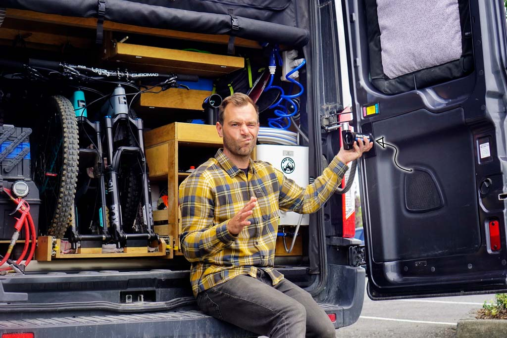 Park-Tool-Bike-Repair-Stand-Installation-in-Van-Conversion-Wall-Mount-Rear-Doors
