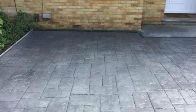 pattern imprinted concrete driveway in Bexley