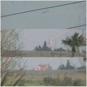 تصویری از لحظات سرنگونی یک هواپیمای نظامی در شهر تکریت در عراق