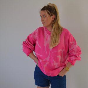 Batik / Tie-Dye Sweater Flamingo - Handmade