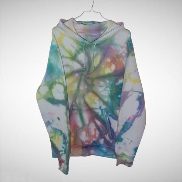Batik / Tie-Dye Hoodie Pool Rainbow - Organic, Handmade