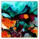 abstrakt orange 2 , 30 - 30 sort kant