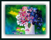 blomster akryl på papir / solgt