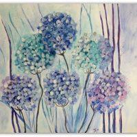 Mine hortensia malerier i blå og turkise farver .