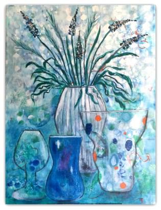 Intuitivt maleri, med vaser akryl maleri 60 - 80 /privat