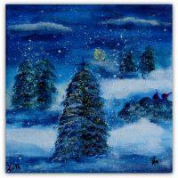Flere julekort, små akrylmalerier ;-)