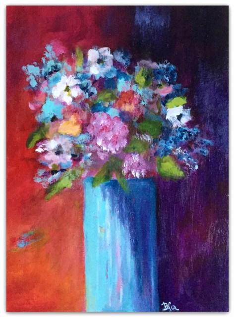Blomster med rød baggrund, akryl maleri