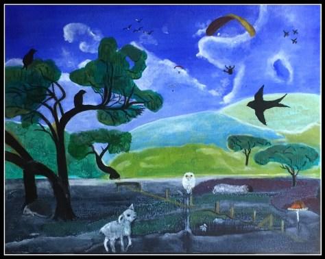 Livet på heden, abstrakt figurativt, akrylmaleri