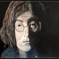 Portræt af John Lennon , akrylmaleri