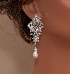 Earrings diamond wedding brides (107)