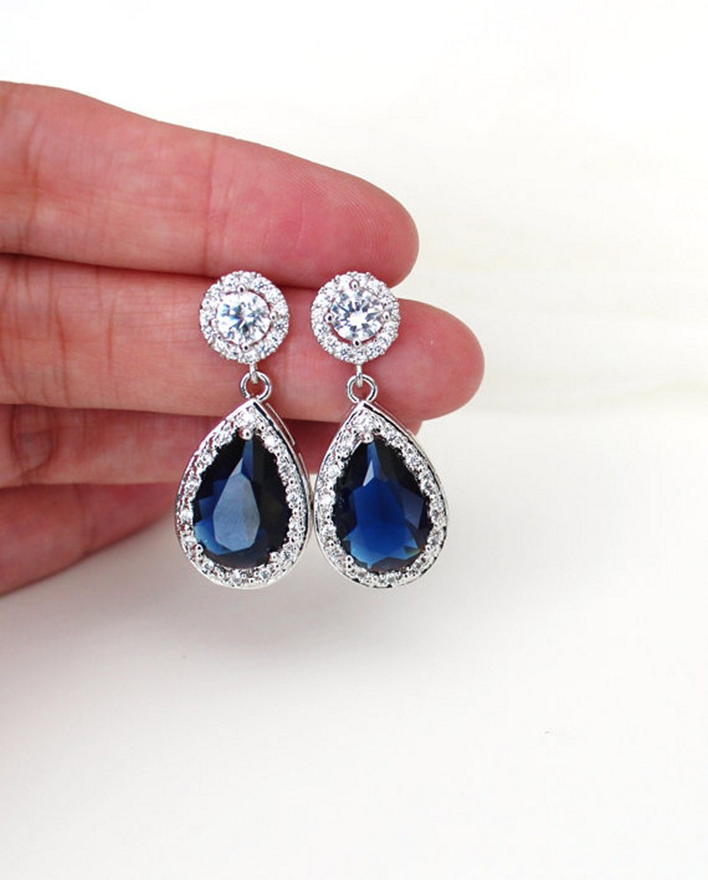 Earrings diamond wedding brides (126)