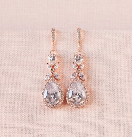 Earrings diamond wedding brides (132)