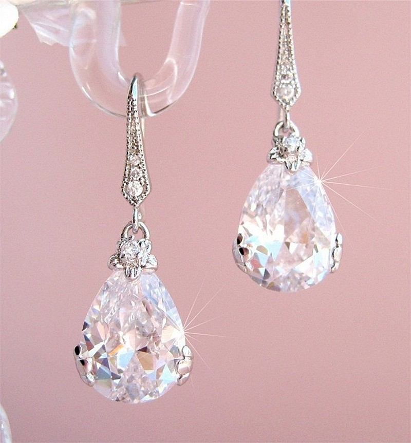 Earrings diamond wedding brides (137)