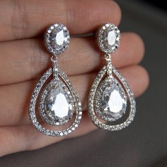 Earrings diamond wedding brides (142)