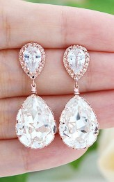 Earrings diamond wedding brides (15)