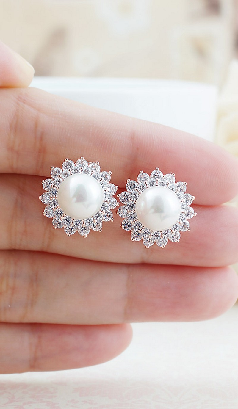 Earrings diamond wedding brides (157)