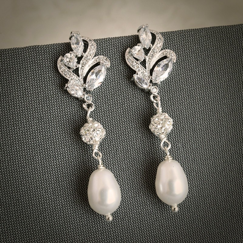 Earrings diamond wedding brides (164)