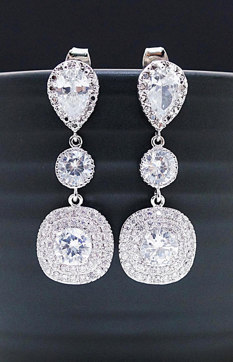 Earrings diamond wedding brides (170)