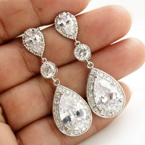 Earrings diamond wedding brides (173)