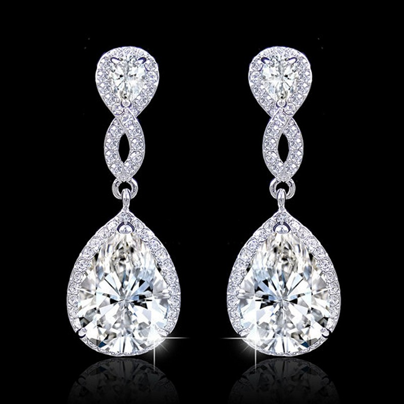 Earrings diamond wedding brides (3)