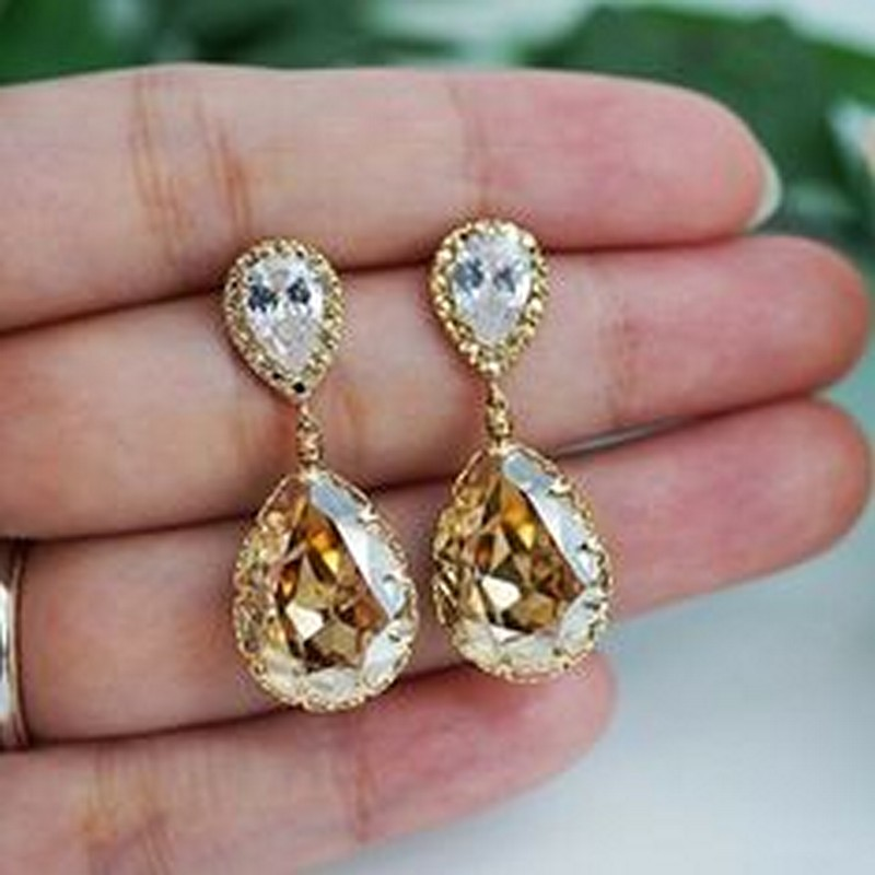 Earrings diamond wedding brides (41)