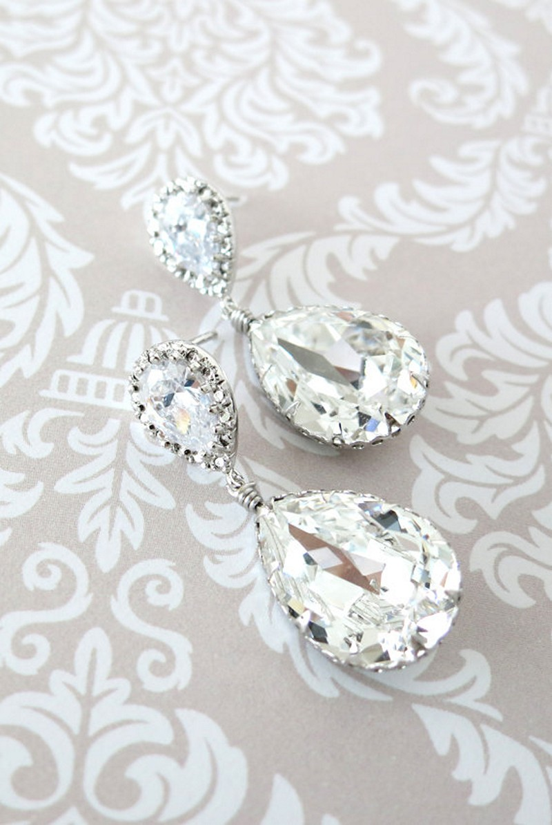 Earrings diamond wedding brides (55)