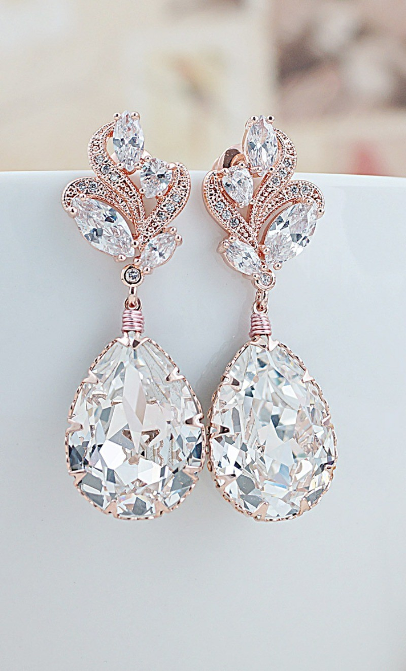 Earrings diamond wedding brides (6)