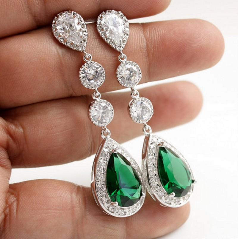 Earrings diamond wedding brides (90)