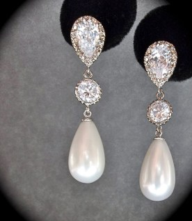 Earrings diamond wedding brides (92)
