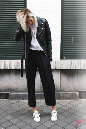 Black leather jacket outfit 1
