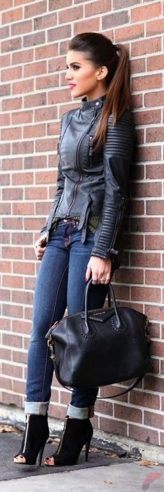Black leather jacket outfit 10